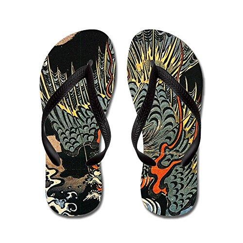 CafePress Hokusai Dragon - Flip Flops, Funny Thong Sandals, Beach Sandals Black
