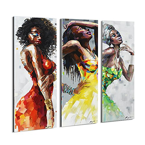 Artinme Framed African American Black Art Dancing Black Women in Dress Wall Art Painting on Canvas Print Wall Picture for Home Accent Living Room Wall Decor (12 x 36 inch, Set of DEF)