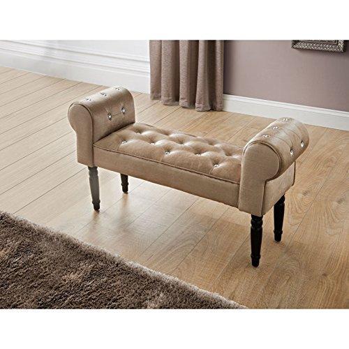 Glitz Diamante Shabby Chic Chaise Longue Pouffe Stool Mink Buttoned Chair