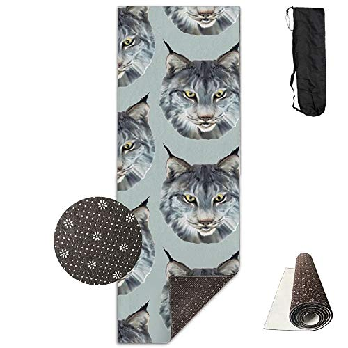 The Wild Cat Wild Animal,Eco-Friendly Non-Slip Yoga Mat Thick Pro Exercise and Pilates Mat with A Yoga Bag Waterproof Yoga Mats Fitness ()