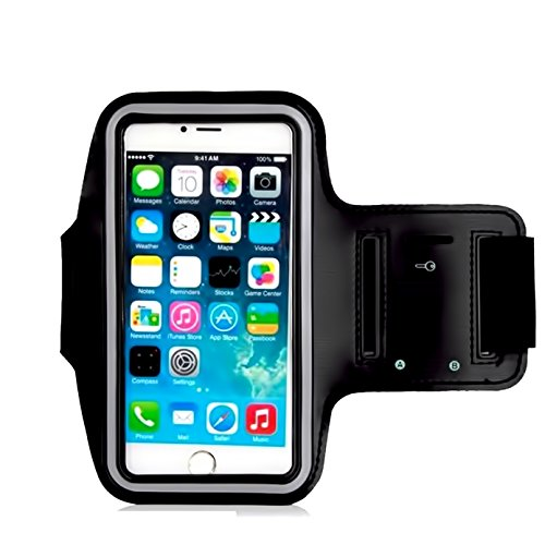 Armband For iPhone 8/8 plus,7/6/6S Plus, Galaxy s8 s7 s6 Edge s8+,Note 5.etc.CaseHQ Adjustable Reflective Velcro Sport Exercise Running Pouch Key Holder,Screen Protector-Hiking,Biking,Walking(black) (Rhinestone Rose Skull)