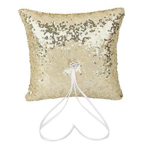 Tinksky Sparkling Rhinestones Bridal Wedding Ceremony Ring Sequins Bearer Pillow with White Ribbon (Gold)
