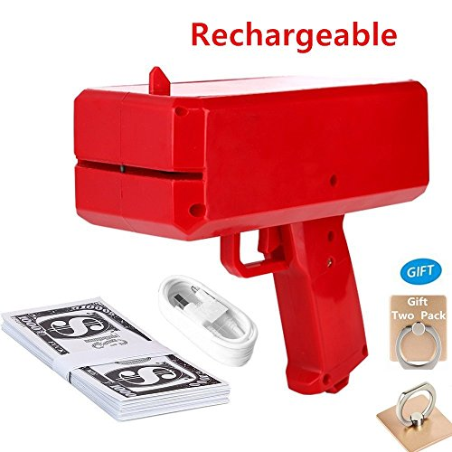 Kplvet Rechargeable Money Gun, Cash Spray Toy for Christmas/Halloween, Make It Rain US Dollar for kids, Party/Nightclub -