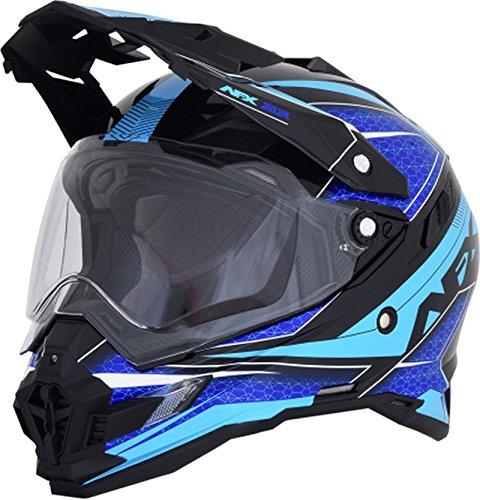 AFX 0110-5369 FX-41DS Black/Blue/Light Blue Eigar Helmet, Distinct Name: Black/Blue/Blue, Gender: Mens/Unisex, Primary Color: Blue, Size: 2XL, Helmet Type: Dual Sport Helmets, Helmet Category: Dual Sp