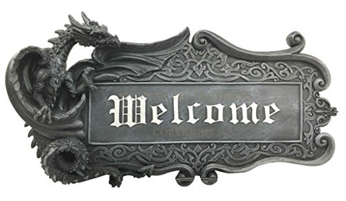 Fantasy Sculpture - Medieval Gothic Dungeon Dragon Guarding Relic Welcome Sign Wall Mount Sculpture Plaque Made of Resin