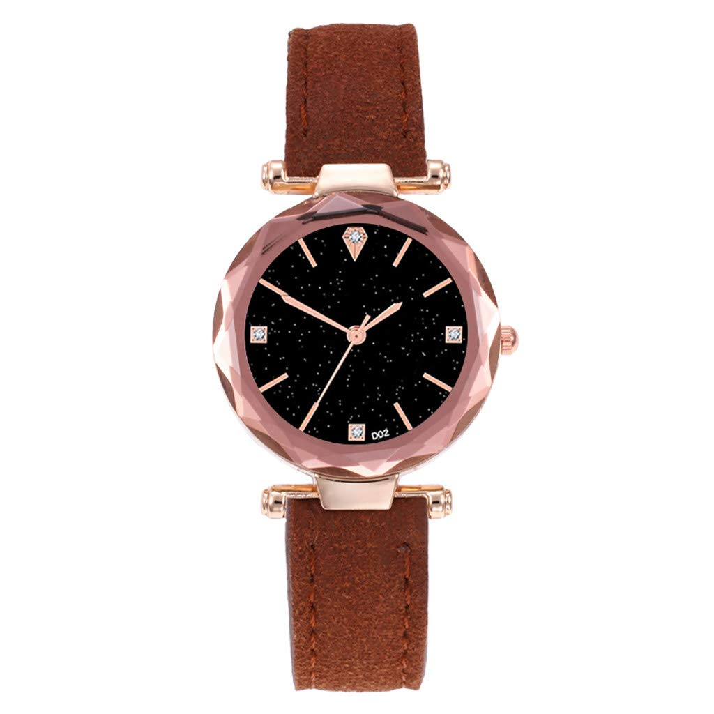 Starry Sky Watch for Women, Crystal Dial Analog Quartz Wristwtach with Suede Pu Leather Band BravetoshopD02-B(Coffee)