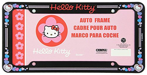 (Plastic Glitter Automotive License Plate Frame - Sanrio Love Hello Kitty Hearts)