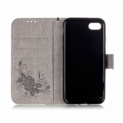 Yiizy Apple IPhone 7 7s Hülle, Prägung Schmetterling Entwurf PU Ledertasche Klappe Beutel Tasche Leder Haut Schale Skin Schutzhülle Cover Case Stehen Kartenhalter Stil Bumper Schutz (Grau)