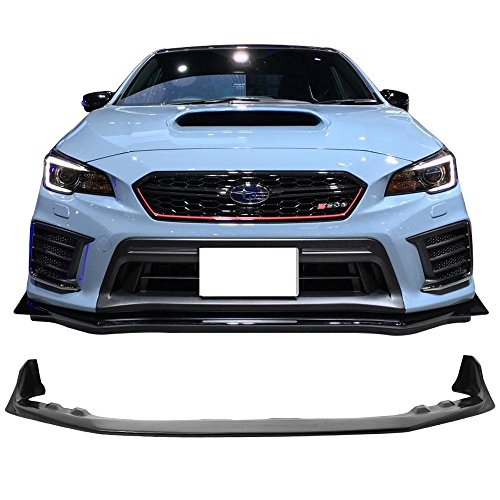 Front Bumper Lip Fits 2015-2017 Subaru WRX STI | S208 Style Black PU Front Lip Finisher Under Chin Spoiler Add On by IKON MOTORSPORTS | 2016 ()