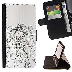 Momo Phone Case / Flip Funda de Cuero Case Cover - Body Anatomy Drawing Pencil - HTC DESIRE 816