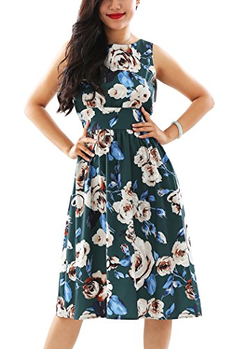 Garden Party File - YMING Women Classic Hepburn Retro Style Garden Party Picnic Swing Dresses Flower Print Tee Dress,XS