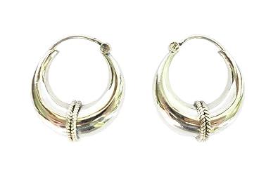 2ba54a0d9 Amazon.com: 925 STERLING SILVER FINE HANDMADE HOOP EARRINGS FOR ...