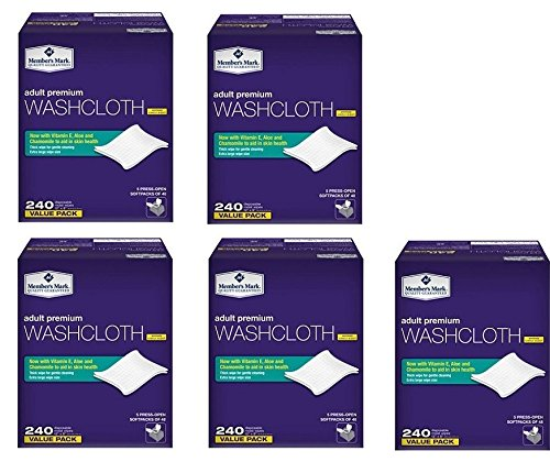 Members Mark mkvBej Adult Washcloths, 240 Count (5 Pack) by Member's Mark (Image #1)