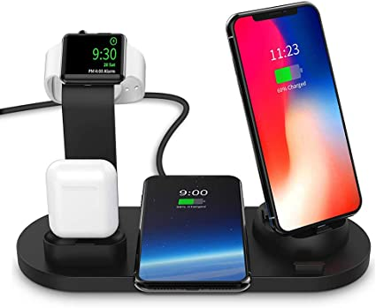 Airpods Wireless Charger DoSHIn 3 in 1 Wireless Charger Stand with QC3.0 Adapter 10W Fast Charger Docking Station Compatible with iWatch Series 4//3//2//1,iPhone Xs MAX//XS//XR//X//8,Samsung Galaxy S10//S9