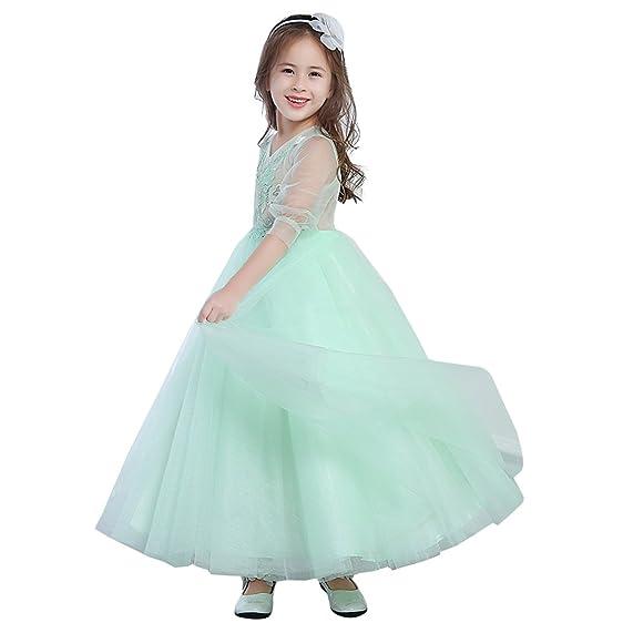 Amazon.com: Lanbaodress Long Tulle Princess Dress Flower Girl ...