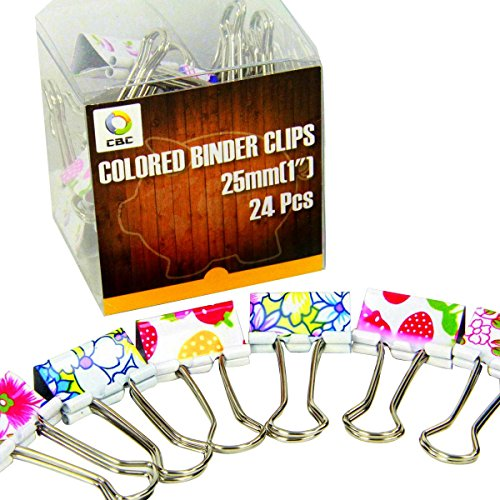 Cbc 12 Pcs Lovely Printing Style Metal Binder Clips Decorative Paper Clips Long Tail Folders Students Clip  Size  1 25 X 2 2 Inch  Tianhong