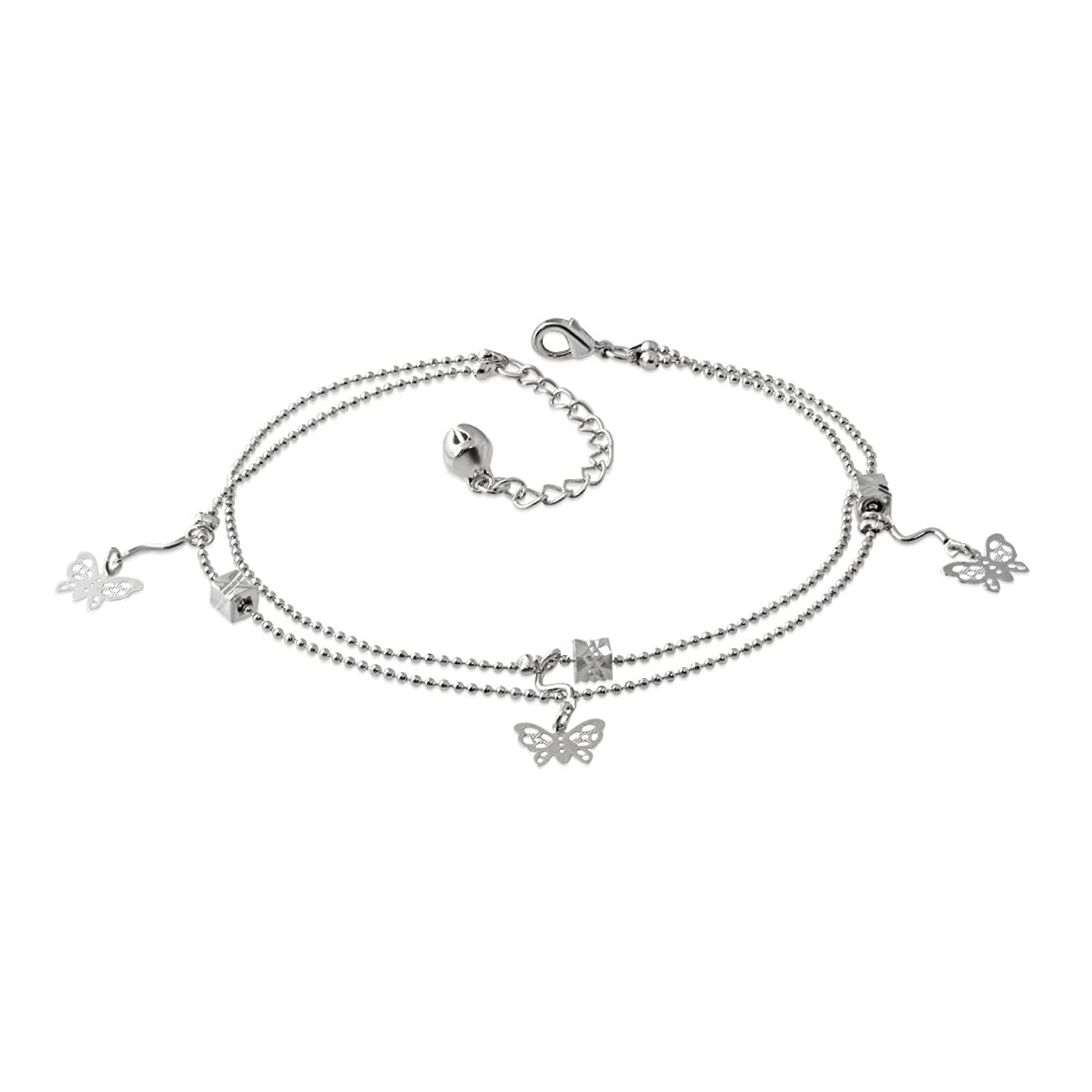 Filigree Butterfly Jingle Bell Charm Double Strand Bracelet/ Anklet with Extender Chain