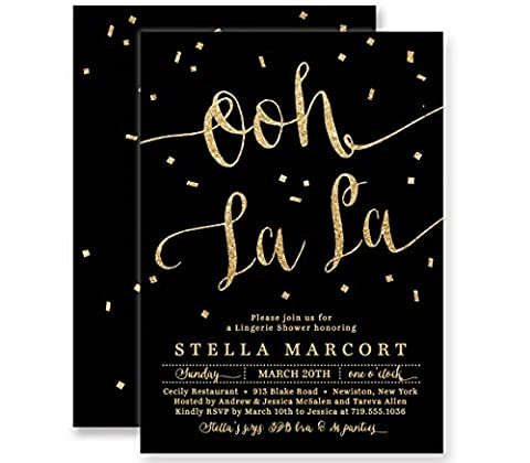Lingerie Party Invitations Black & Gold Glitter Look Ooh La La Boutique Invites with Envelopes- Stella - Lingerie Party Invitation