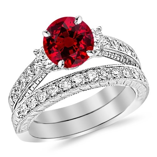 2.03 Carat 14K White Gold Three Stone Vintage With Milgrain & Filigree Bridal Set with Wedding Band & Diamond Engagement Ring with a 1 Carat Natural Ruby Center (Heirloom Quality)