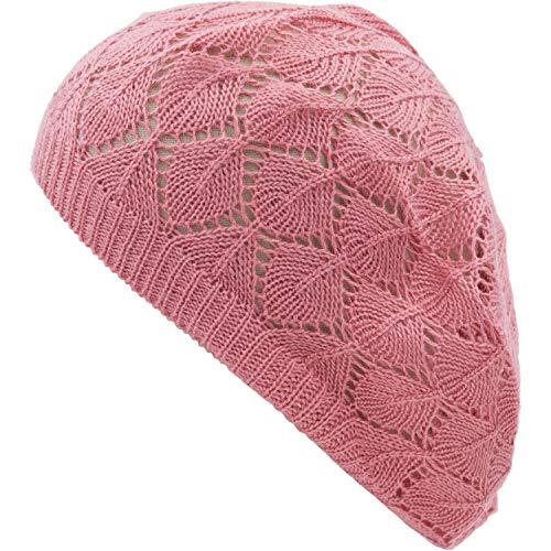 (an Womens Peach Diamond Stripe Cut Out Geometric Beanie Beret Hat)