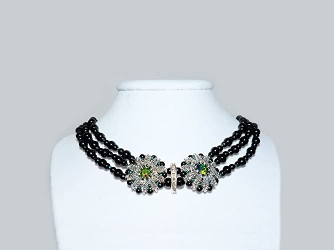 Beaded Multistrand Necklace with Simulated Black Pearls f2925125d0cf