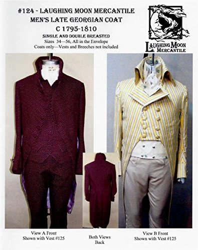 Men's Late Georgian Coat Size 34-56 1795-1810 Laughing Moon Costume Pattern (1810 Costumes)