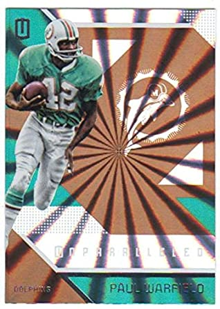 702772827 2016 Unparalleled Football  106 Paul Warfield Miami Dolphins Official NFL  Trading Card Produced By Panini