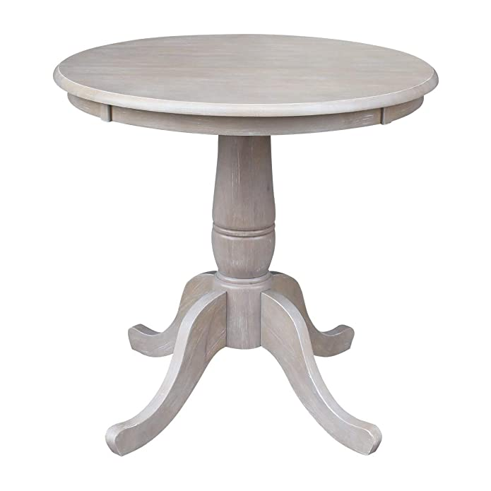 Solid Wood Round Pedestal Dining Table Washed Gray Taupe - International Concepts
