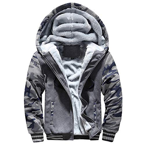 Simayixx Men Thicken Winter Clothes Outdoor Fleece Fur Coats Plus Size Zipper Hoodie Sweatshirt Jacket Outwear (2XL, Dark Gray)