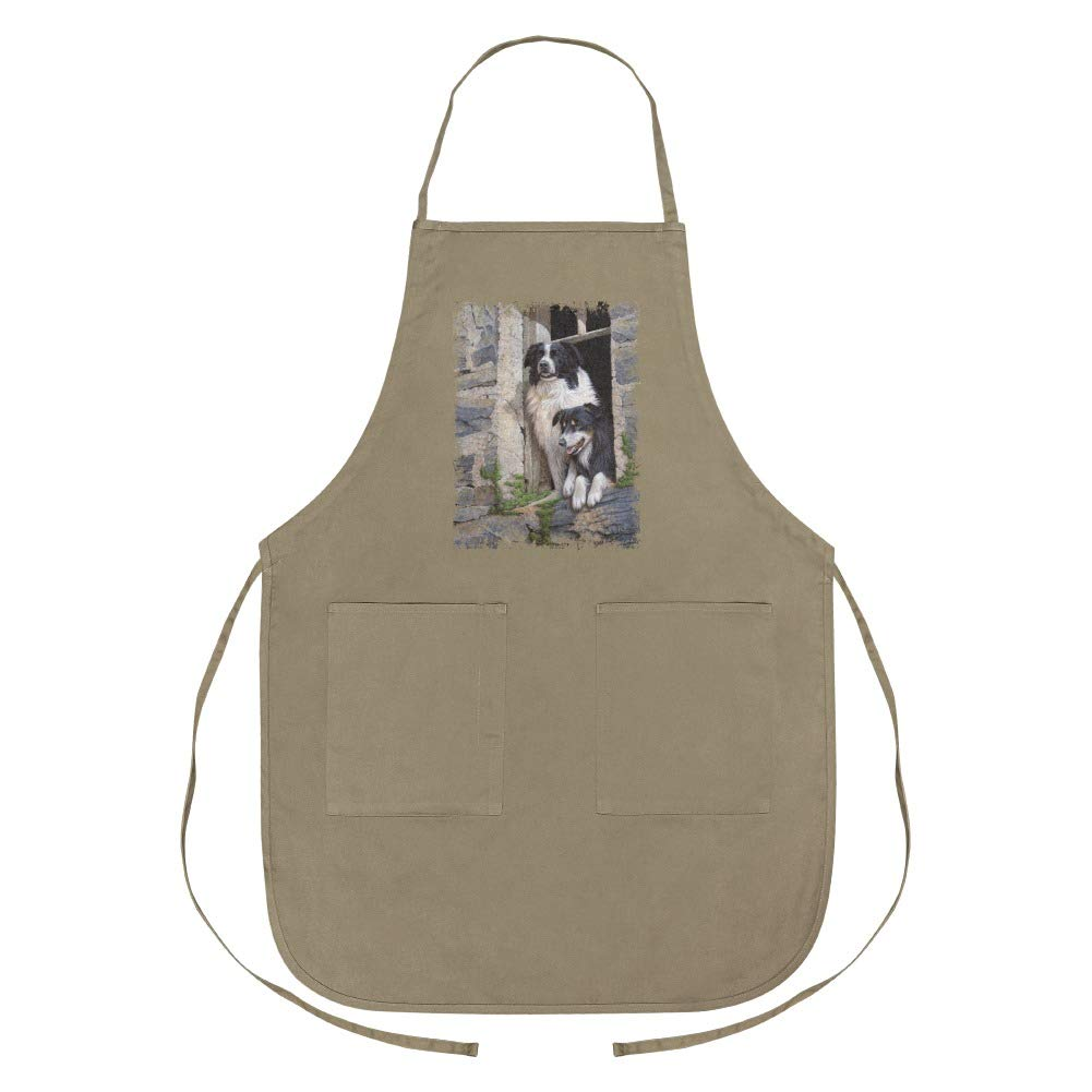 Graphics and More Border Collies Window Dogs Apron with Pockets