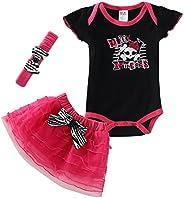 Mud Kingdom Baby Girl's Punk Princess CrossBones Summer 3pc