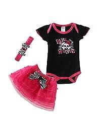 Mud Kingdom Baby Girl's Punk Princess CrossBones Summer 3pc Set