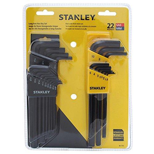 Stanley 85-753 Juego de llaves hexagonales métricas SAE y brazo largo de 22 piezas
