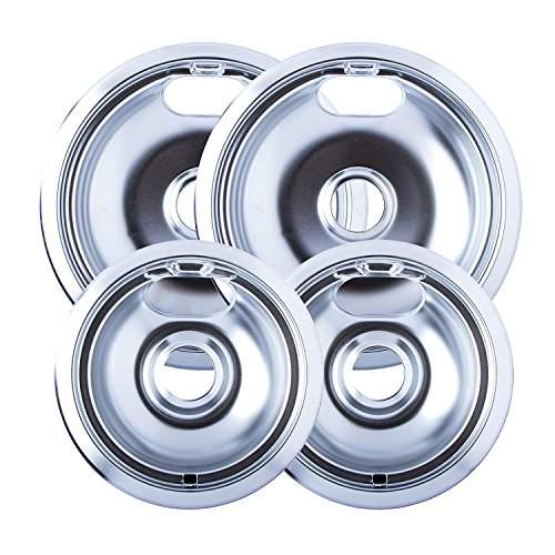 """4 & 8"""" Replacement Chrome Pans for Whirlpool W10278125 W10196405"""