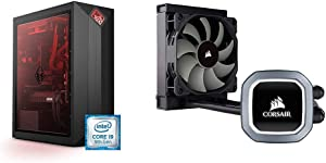 OMEN by HP Obelisk Gaming Desktop Computer, 9th Generation Intel Core i9-9900K Processor, Windows 10 Home (875-1023, Black) & Corsair Hydro Series H60 AIO Liquid CPU Cooler, 120mm Radiator