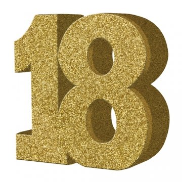 8' Gold Glitter 18th Birthday Table Decoration
