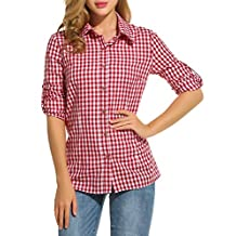 Meaneor Women's V-neck Long Sleeve Loose Casual Button Down Plaids Shirt Blouses