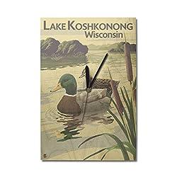 Lantern Press Lake Koshkonong, Wisconsin - Mallard Ducks (10x15 Wood Wall Clock, Decor Ready to Hang)