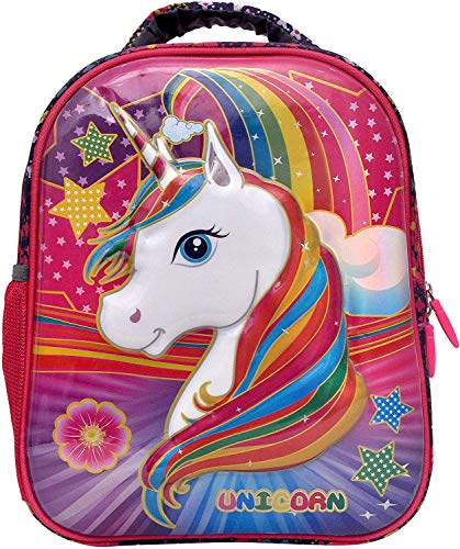 Stylbase Girl's and Boy's Unicorn 3D Red canvas School Bag Pack for Class – Play, Ukg, Nursery (3-6 Years, 14 Inches)