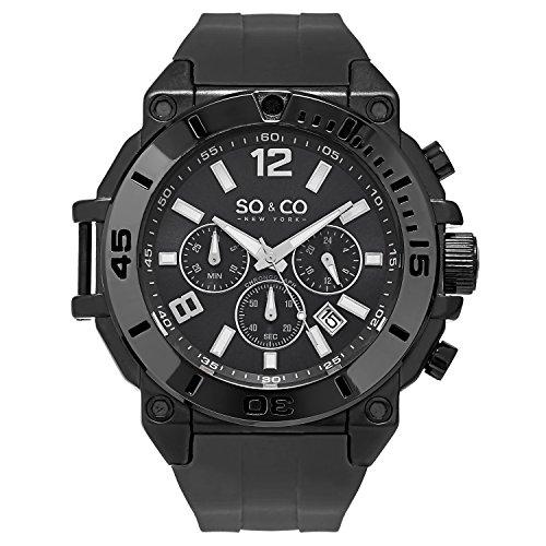 (SO & CO New York Yacht Timer 5231.1 Men's Chronograph Gray Case Silicone Rubber Strap 10 ATM Date Quartz Wrist Watch)