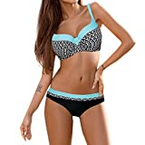 Women's Plus Size XXL Sexy Swimwear Set Backless Halter Two Piece Swimsuit Floral Printed Bathing Suit Set (Blue, S)