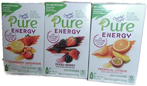 Crystal Light Pure Energy Single Serve - Strawberry Lemonade, Mixed Berry, Tropical Citrus- 2 Boxes Of Each Flavor ()