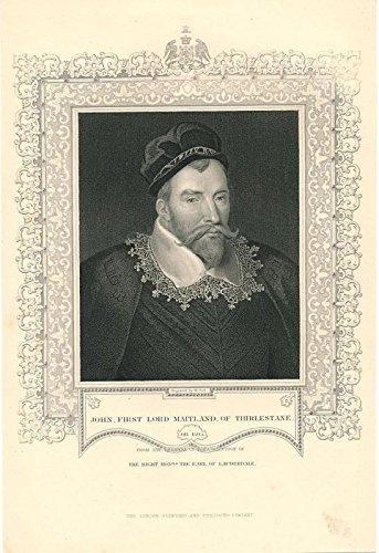 - John 1st Lord Maitland of Thirlestane c.1855 fine antique engraved portrait