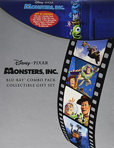 Monsters, Inc. Disney Pixar LIMITED EDITION GIFT SET Includes 2 Disc Blu-Ray, 1 Disc DVD, 1 Disc Disneyfile Digital Copy, Collectible Book, Sticker Book and Litho Set