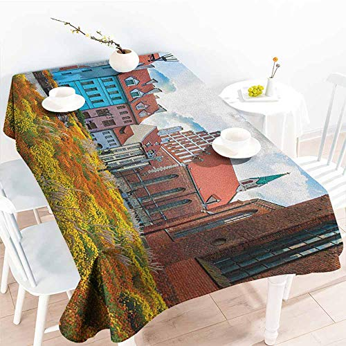 (EwaskyOnline Waterproof Table Cover,Victorian Old City Riga Latvia Capital with Historical Buildings Medieval Town Image Print,Resistant/Spill-Proof/Waterproof Table Cover,W54x72L, Multicolor)