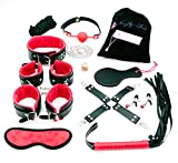 Sex Toys Best Deals - Naughty Time 13 Piece Bondage Gear Kit Arm and Leg Restraints Fuzzy Handcuffs (Red)