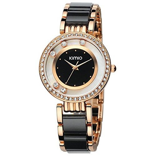 Tidoo Women's Dress Watch, Rose Gold Plated Black Ceramics Band with 5 Crystals Black&White Dial