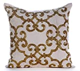 "Designer Gold Shams, Beaded Damask Turkish Pattern Pillow Shams, 24""x24"" Pillow Shams, Square Cotton Linen Shams, Contemporary Pillow Shams - Gold Encrusted"