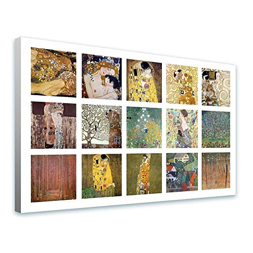 Alonline Art - Water Snakes Mother Embrace Collage 15 Gustav Klimt FRAMED STRETCHED CANVAS (100% Cotton) Gallery Wrapped - READY TO HANG | 43