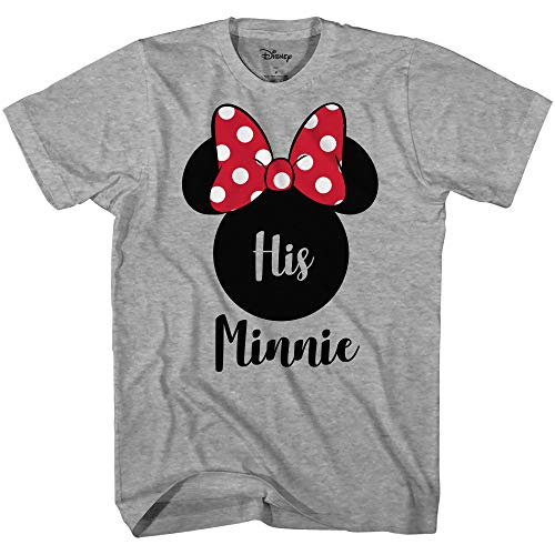Disney His Minnie Her Mickey Couples Valentines Adult Funny Tee Disneyland Graphic T-Shirt(Heather Grey,X-Large)